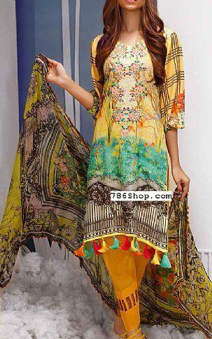 Yellow Karandi Suit | Buy Shaista Pakistani Dresses and