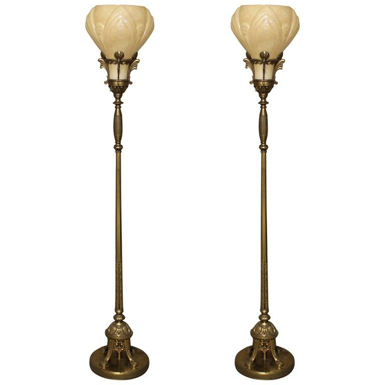 Pair Of Art Deco Torchiere Floor Lamps From A Unique Collection Of Antique And Modern Floor Lamps At Https W Torchiere Floor Lamp Diy Floor Lamp Floor Lamp