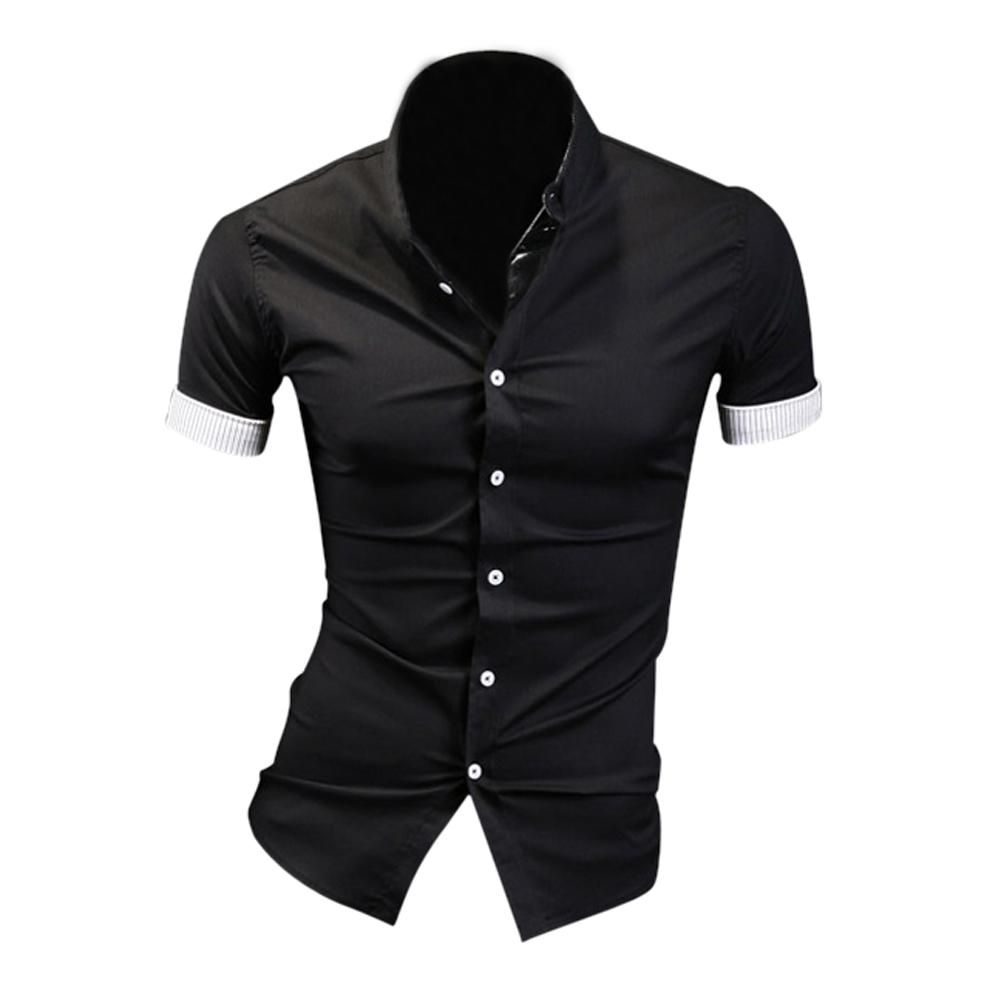 53251fc864a Hot Black Summer Mens Dress Shirts Plaid Hit Color Edging Lined with  Stripes Slim Fit Short sleeved Shirts M