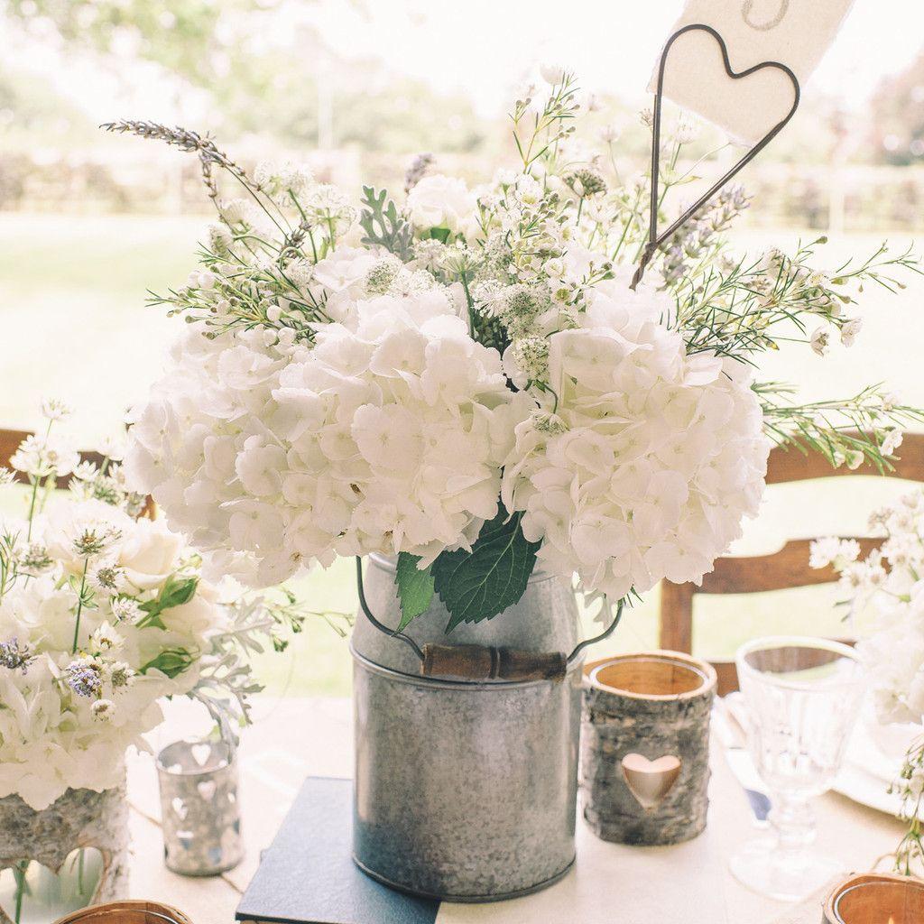 Silver Milk Churn Table Centre | Wedding tables, Table ...