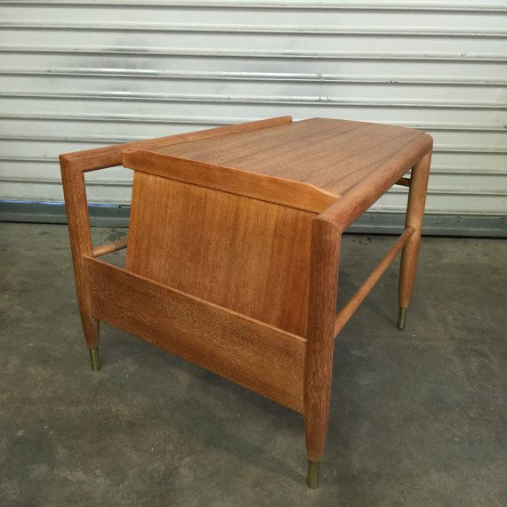 Mid Century Side Table Brown Saltman Wedge by RetroResaleSanDiego