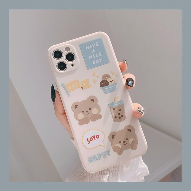 Sweet Bubble tea Milk tea bear Phone Case   RK1433 - for iphone XS MAX / 01