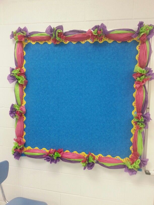 Bulletin border made with tissue paper decorations for How to decorate a cork board