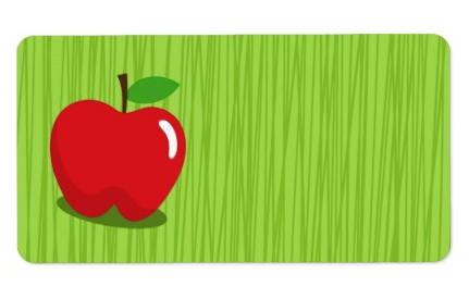 Red apple on green background blank label