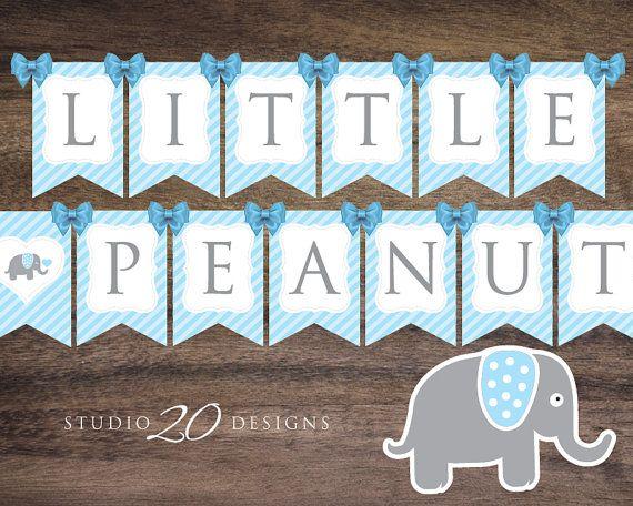 Instant Download Blue Elephant Baby Shower Banner, Blue Grey