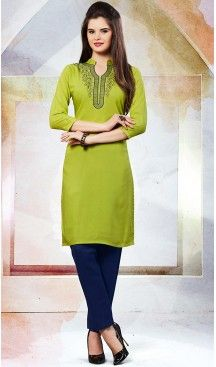 Mehendi Green Color Cotton Trendy Daily Wear Readymade Kurti ... fea515a87f5