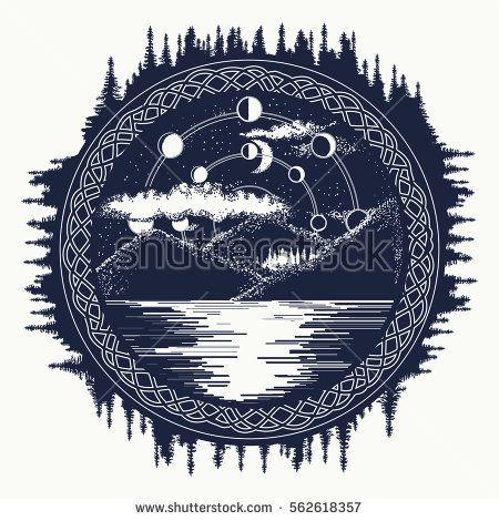 Mountain Lake Tattoo Art Mystical Symbol Of Tourism Camping