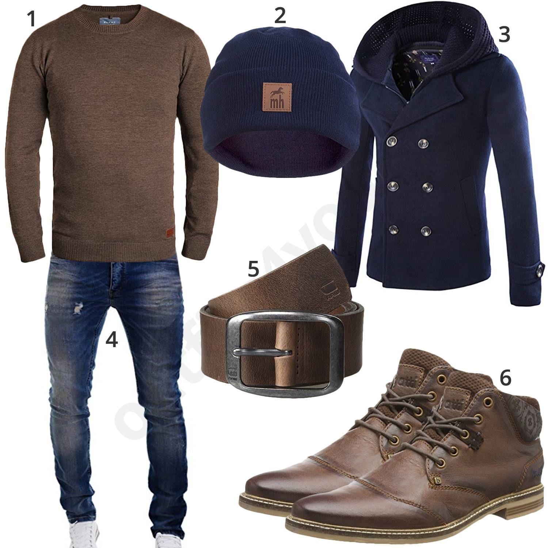 Gut Winteroutfit Für Männer In Dunkelblau Und Dunkelbraun (m0848) #pullover  #jacke #boots