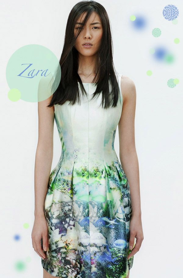 From the Spring Zara SS12 look book - an aquatic themed modern dress in watercolour sides of mint, aqua and lime.