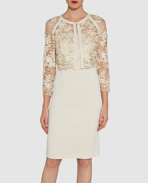 eea7aef9138e7 Conjunto de chaqueta y vestido de mujer Gina Bacconi en color blanco y  dorado
