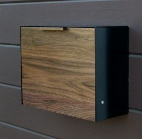 Modern Mailbox Large Walnut And Stainless Steel Mailbox Wall