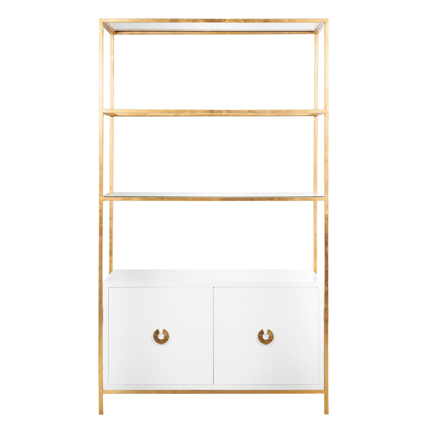 Worlds Away Wyeth White Lacquer And Gold Leaf Bar Cabinet @Zinc_Door