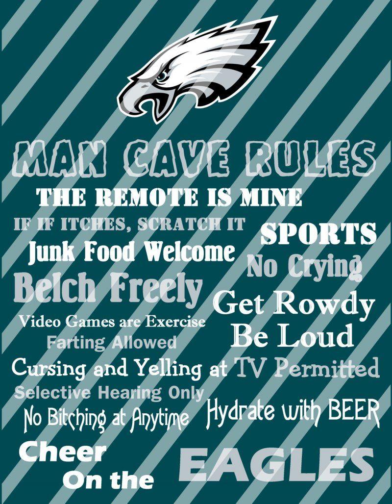 Philadelphia Eagles Man Cave Rules Wall Decor Sign Digital Or Photo Print