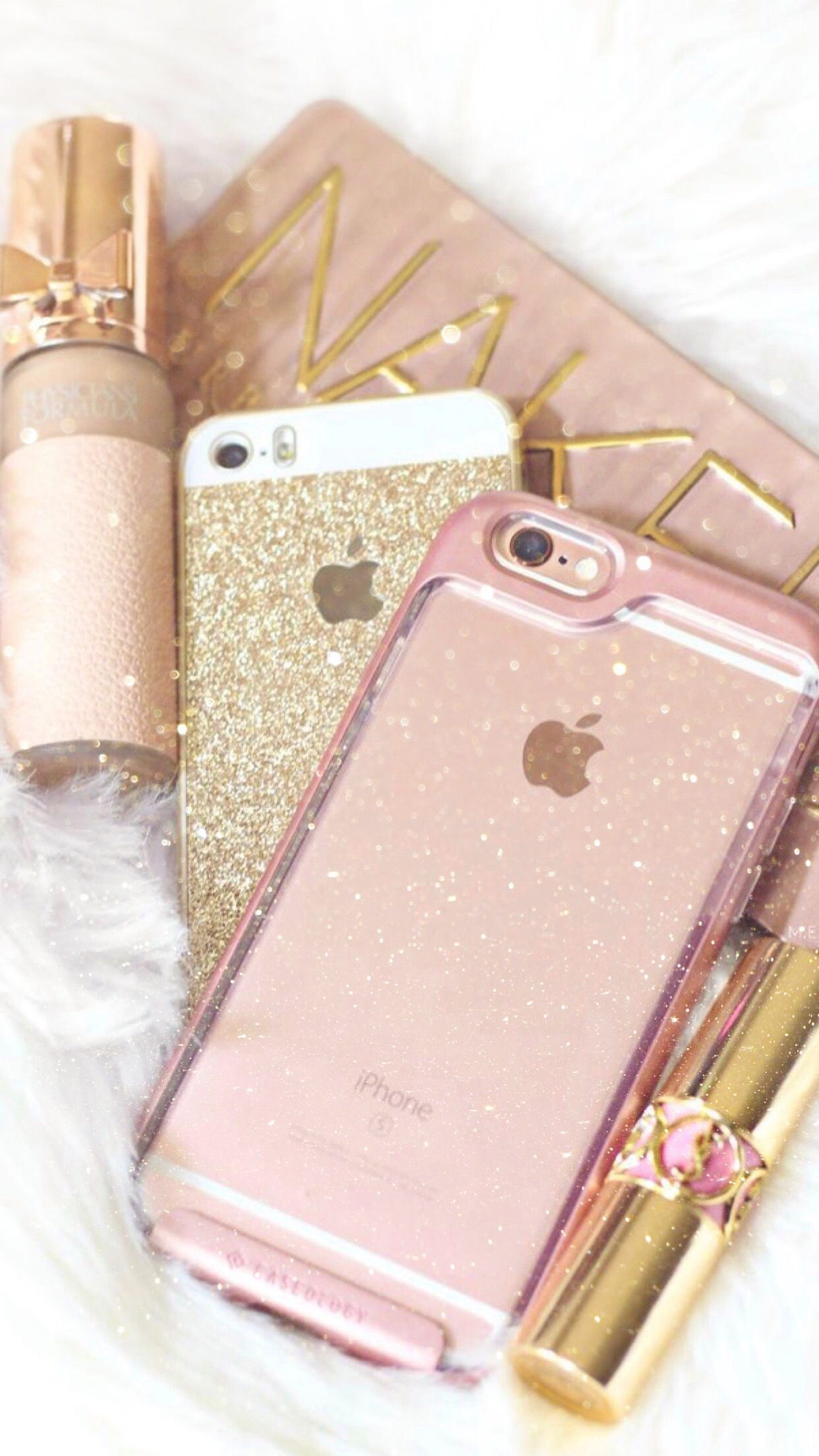 Wallpaper Iphone Android Background Hd Rose Gold Glitter Pink Iphone Girly Things Rose Gold Aesthetic
