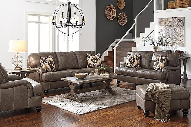 Quarry Kannerdy Sofa View 4 Grey And Leather Ashley