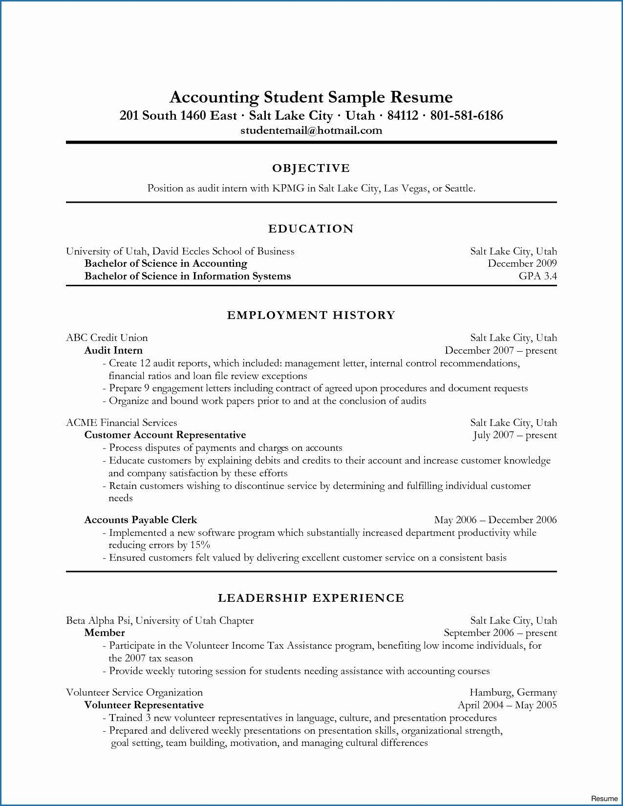10 Example Resume Accounting Student personalresume in