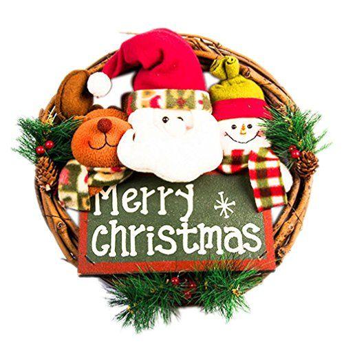 Iusun Funny Christmas Red Poinsettia Pine Wreath Dectoration Xmas - christmas decors