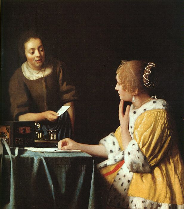 Lady with her Maidservant by Vermeer