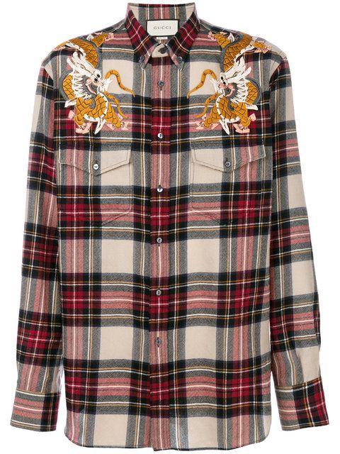 5862fc8e Shop Gucci Dragon check shirt. | | PLAID | | Red checkered shirt ...