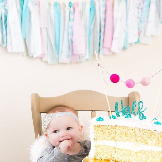 Half Birthday Girl Cake Topper6 Month Photos6 BirthdayHalf Topper1 2