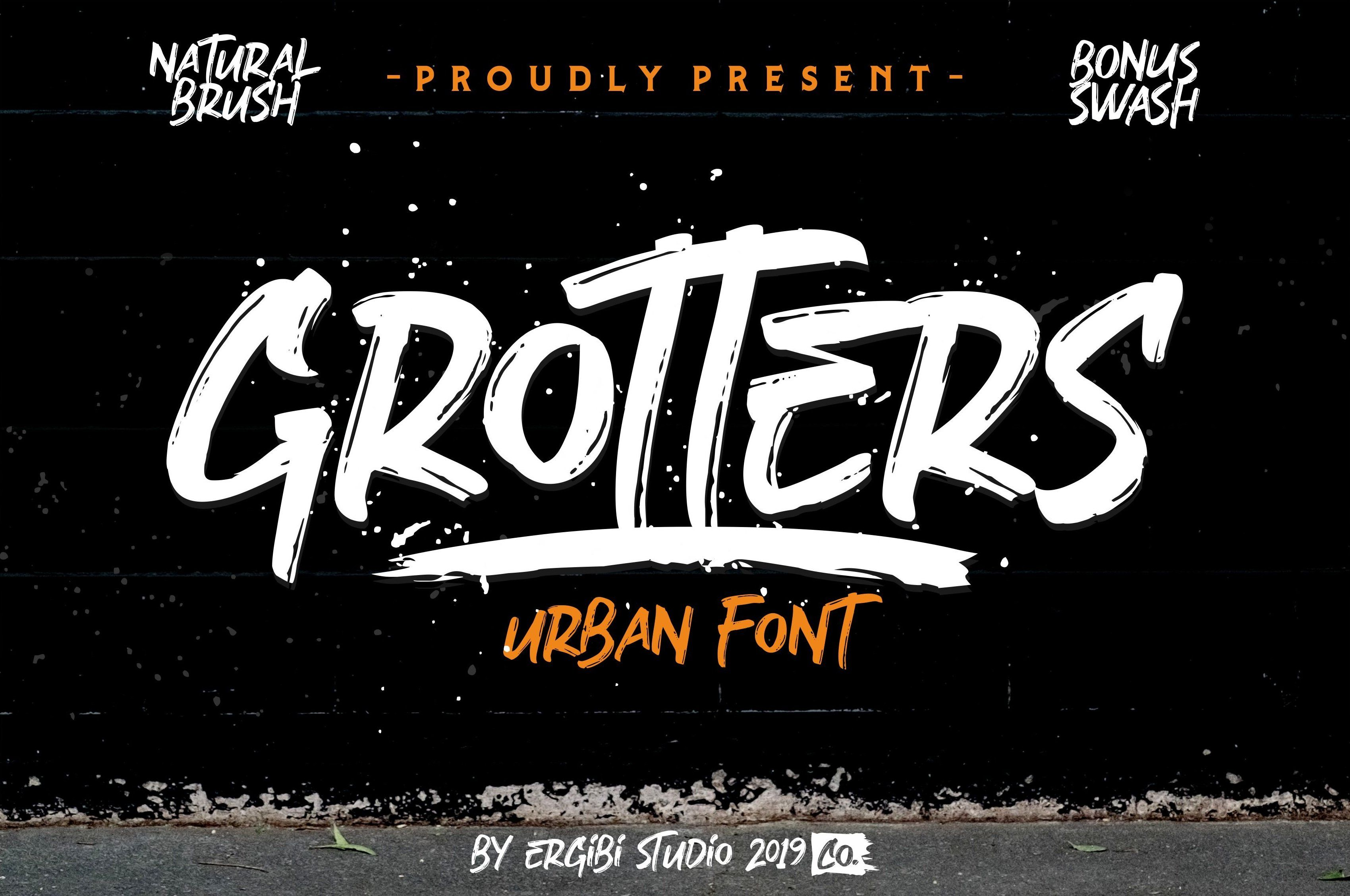Grotters Urban Font Brush Font Fonts Design Urban
