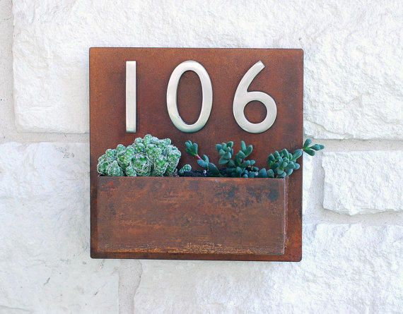 "Metal Address Plaque and Succulent Wall Planter - 12"" x 12"" Square with (3) Satin Nickel Address Numbers & Free Shipping"