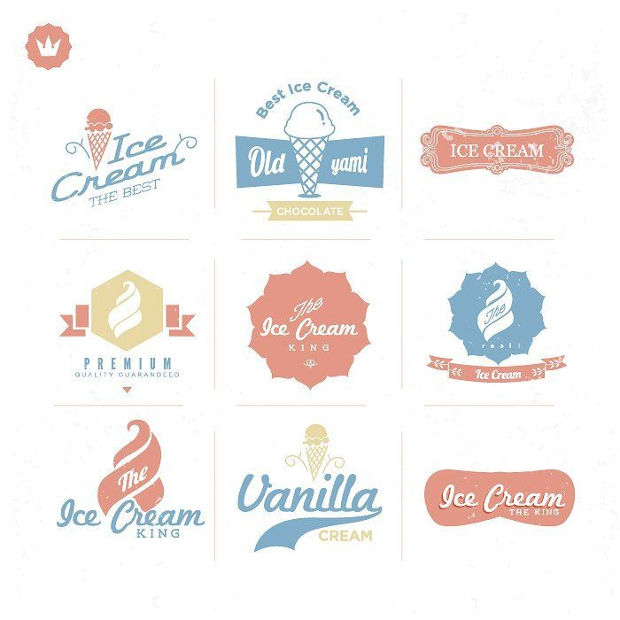 Retro, vintage Ice cream labels  - Objects Graphics dEsign -