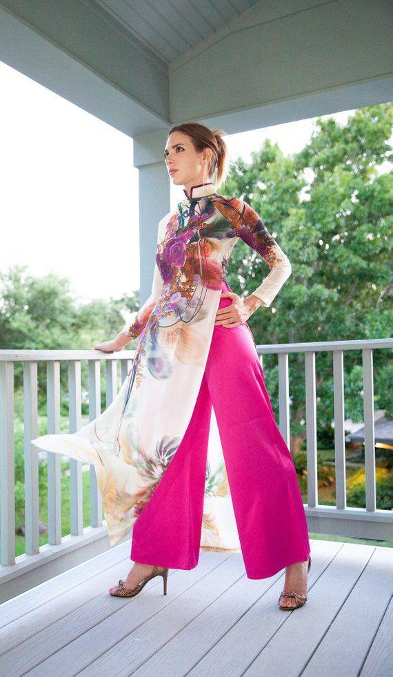2e547f51a0b Sheer Tunic    Tunic with Pants, Asian Tunic Dress, Pink Palazzo Pants,  Floral Print, Thigh High Sli