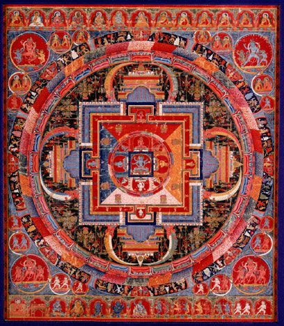 Mandala Of Jnanadakini The Central Six Armed Goddess Is Surrounded By Eight Emanations Devi That Correspond To Colors