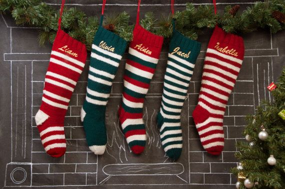 set of 5 personalized knit christmas stockings personalized christmas stockings striped wool stockings - Striped Christmas Stockings