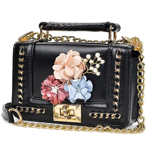 Flower Embellished Chain Bag With Faux Pearl ❤ liked on Polyvore featuring  bags
