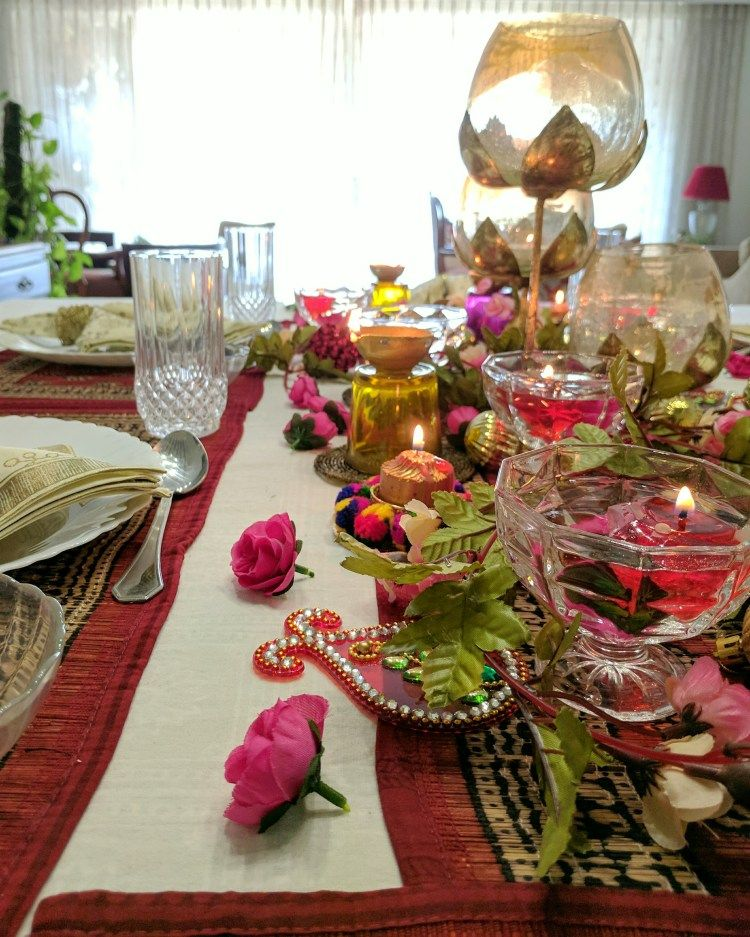 A Bright And Floral Diwali Tablescape One Brick At A Time Diwali Decorations At Home Diwali Decorations Diwali