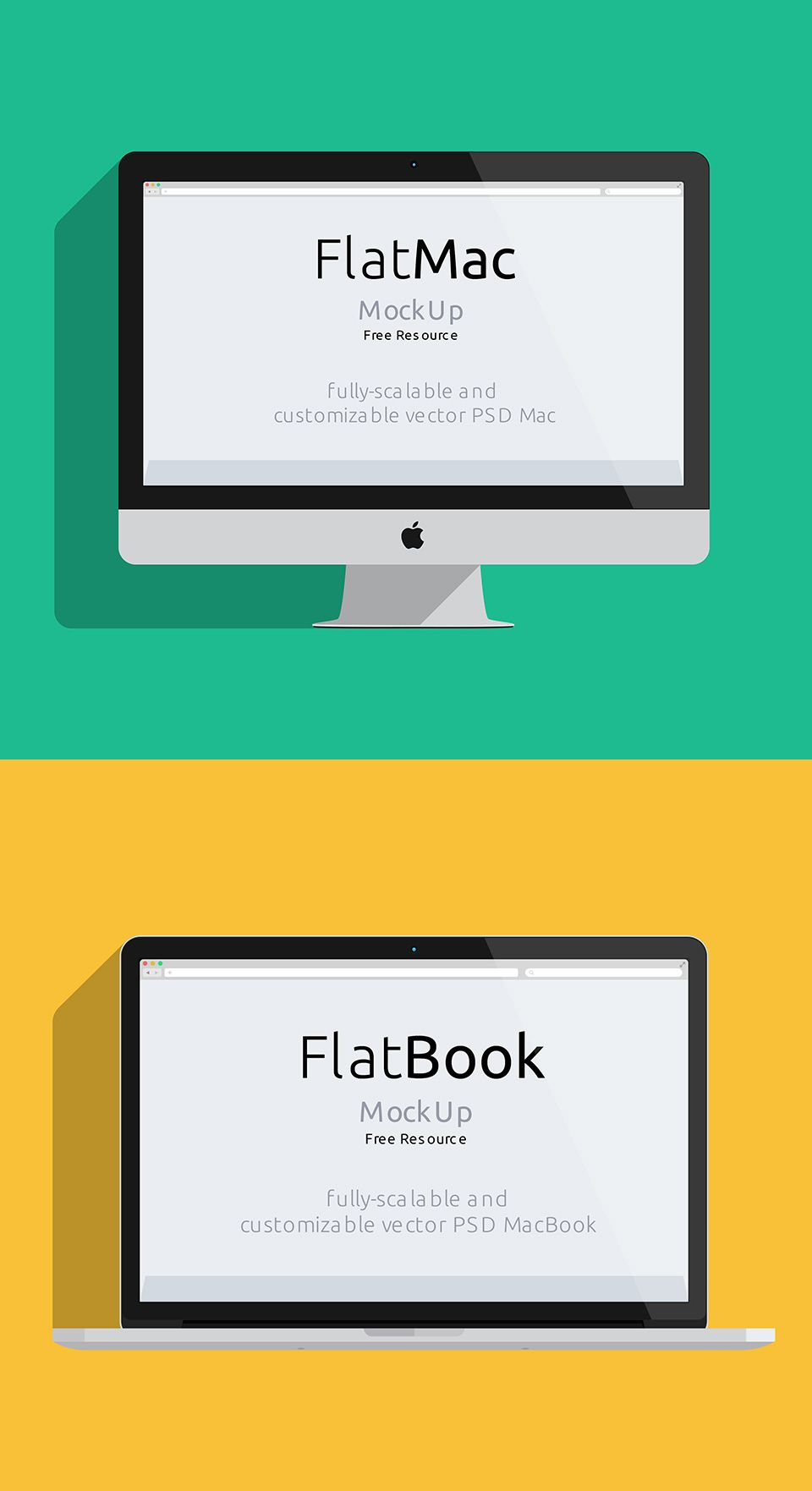 FlatMac and FlatBook | Freebie San - Get your design freebies for ...