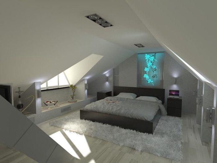 mansardenwohnung auf zwei niveaus schrank mit vielen schubladen - schlafzimmer mit dachschräge farblich gestalten