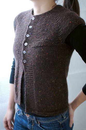 Ravelry Top Down Garter Stitch Yoke Vest Short Rows Pattern By
