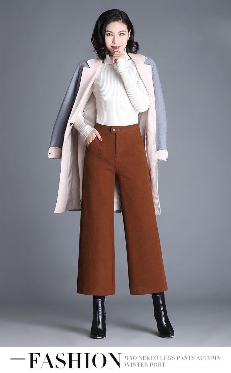 59590a0a5004 Plus Size Solid Color Winter Pants Women High Waist Woolen Wide Leg Pants  Ladies Korean Chic