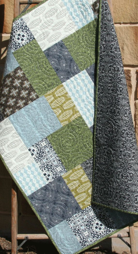 SALE Unique Baby Boy Quilt, Curious Nature, Earth Tones, Modern ... : unique quilts for sale - Adamdwight.com