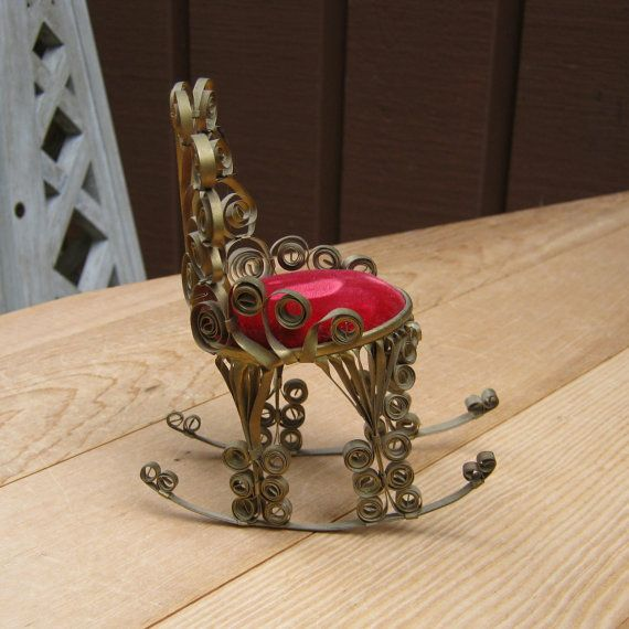 Vintage folk tramp art rocking chair tin can handmade