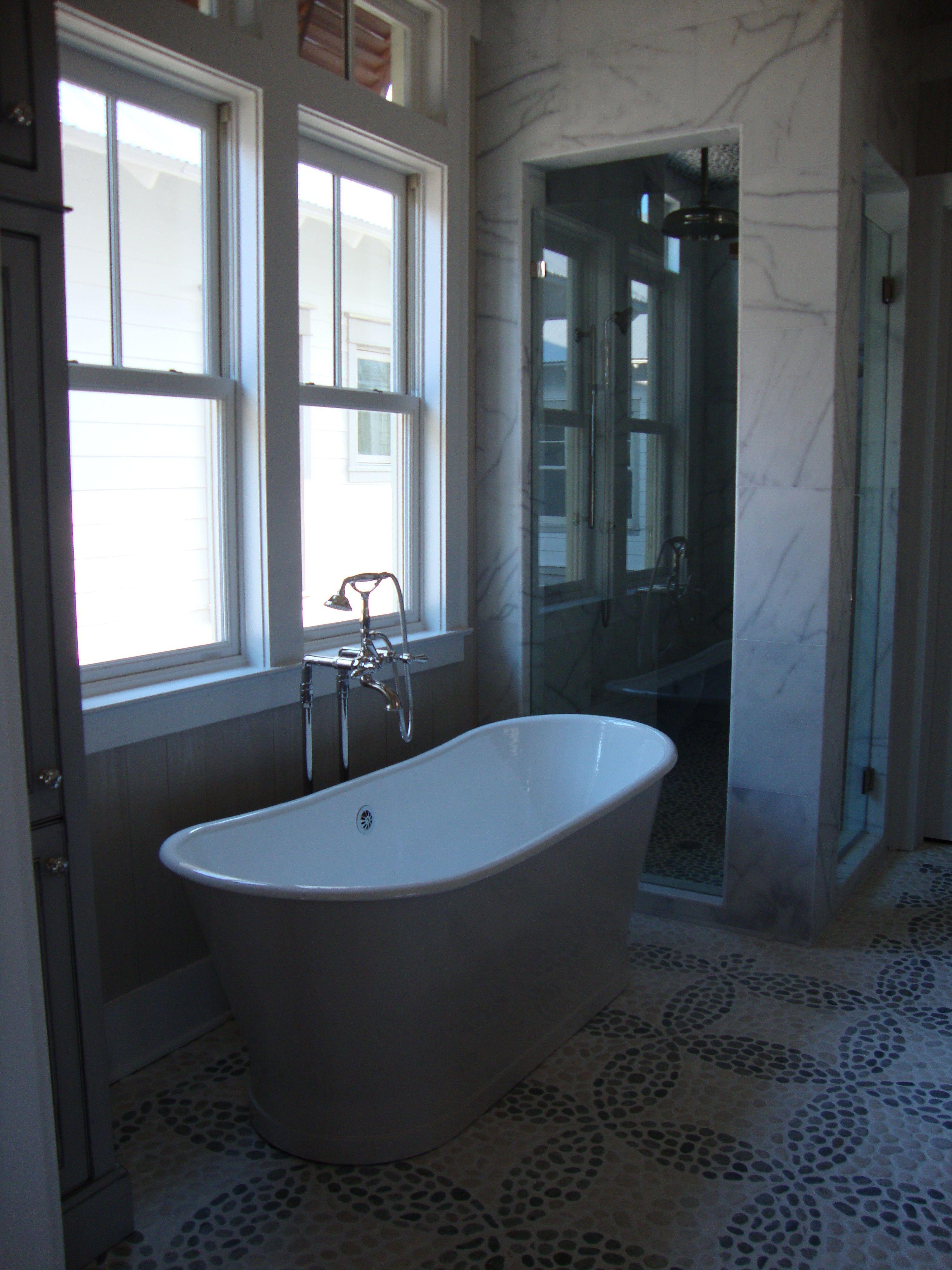 Bath great floor cast iron tub rough hewn wood bath