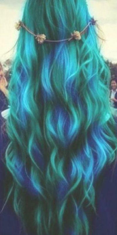 Super Hair Dyed Rainbow Blue Green Ideas