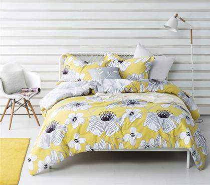 Yellow Flowered Twin Xl Comforter Buy Dorm Room Comforter Set