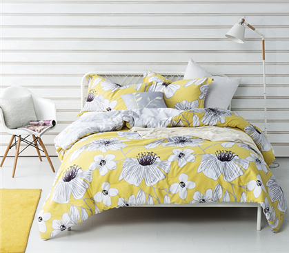 Yellow Flowered Twin Xl Comforter Buy Dorm Room Comforter Set Online Dorm Room Comforters Dorm Bedding Twin Xl Twin Xl Comforter