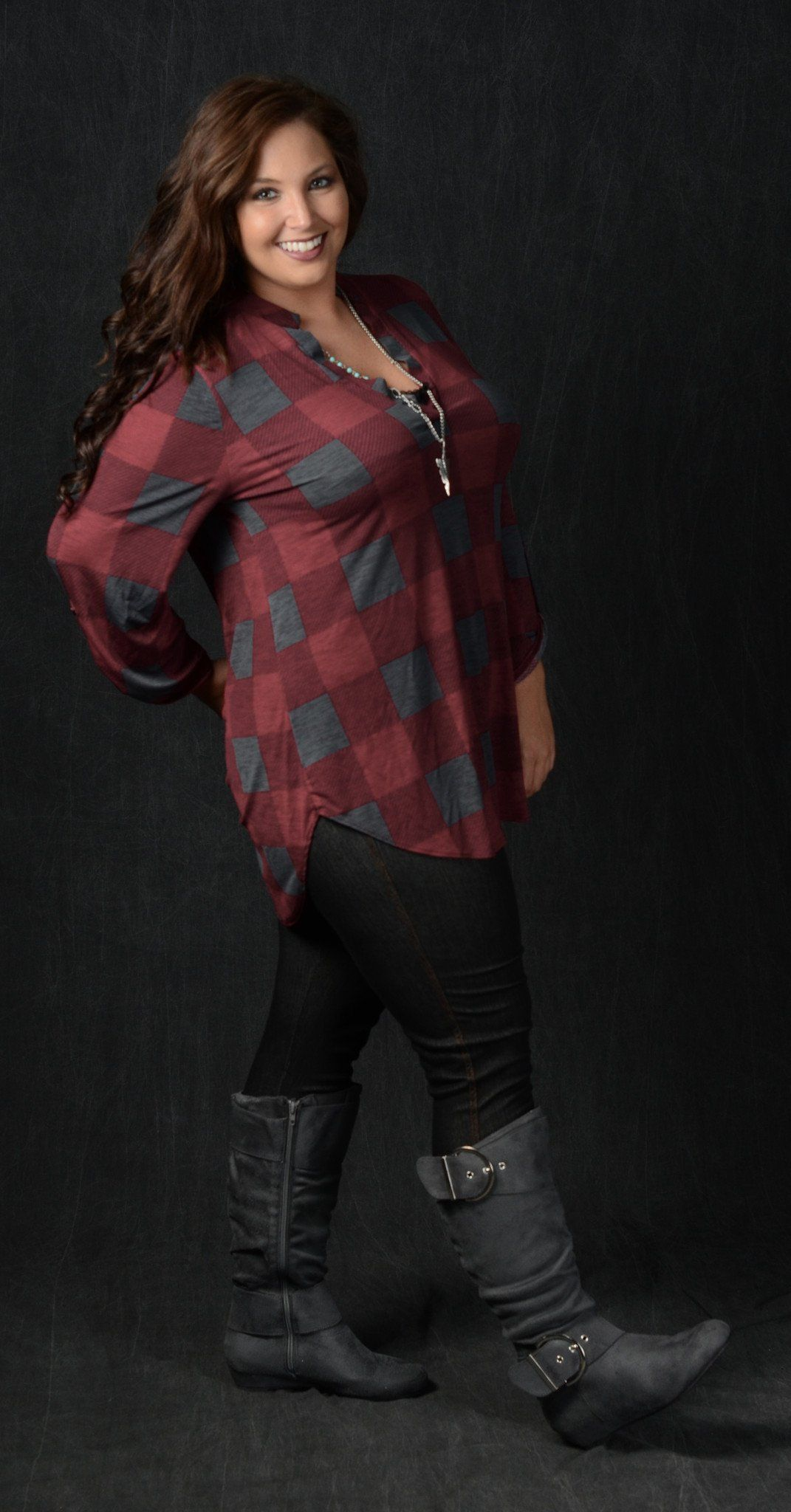 charcoal & burgundy v-neck checker top - curvy plus size boutique