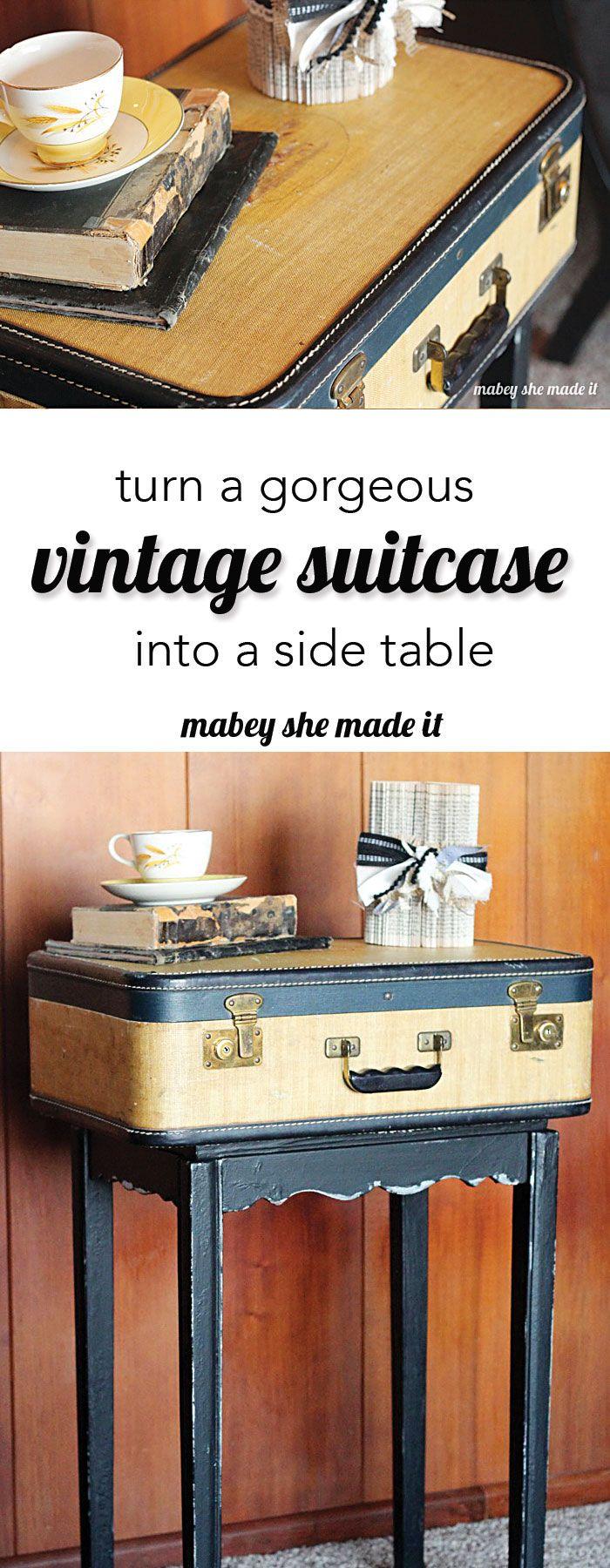 vintage suitcase table makeover suitcases vintage suitcase rh pinterest com