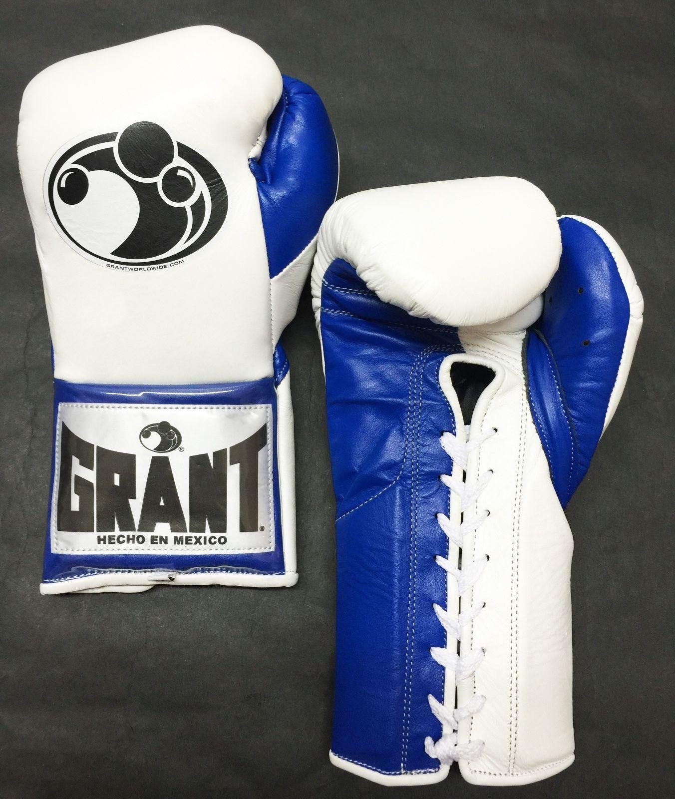 0fdc86cdf8e Grant Boxing Custom 10 oz Pro Fight Gloves White Blue Authentic ...