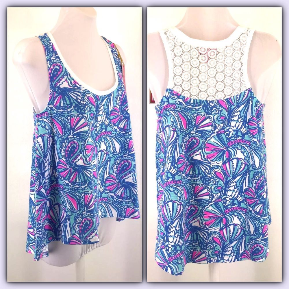 f0cb7cab514 Lilly Pulitzer for Target Size Small Swing Tank Top Oh My Fans Blue Pink  White #LillyPulitzer #Tank #Casual