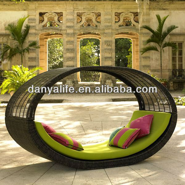 DYBED D1105A,Wicker Garden Patio Sun Bed,Rattan Outdoor Leisure Single  Daybed,