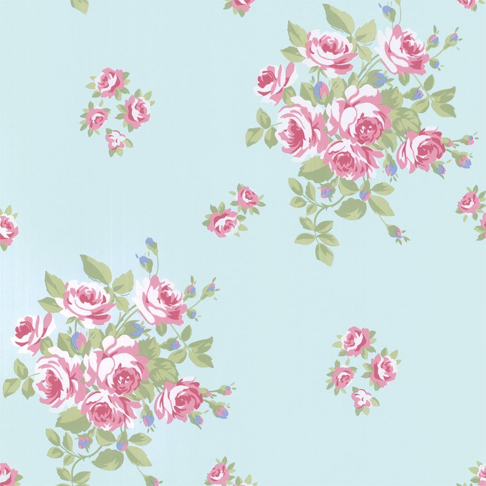 Vintage Ditsy Floral Wallpaper Teal Pink Flower Iphone
