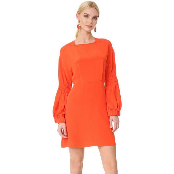 e666750b68e2 Tibi Balloon Sleeve Short Dress (19,355 INR) ❤ liked on Polyvore featuring  dresses, orange mini dress, tibi dresses, short dresses, mini dress and  smock ...