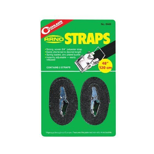 Coghlan's Arno Strap (Pack of 2) by Coghlan's. $2.92. Tents. Back Packs. Luggage. Sleeping Bags. Foam Pads. Strong, woven 3/4 in. polyester strap. Easily shortened to desired length. Spring loaded, zinc plated buckle. Instantly adjustable - easily released.Suitable for many outdoor uses due to its strength and flexibility. The Arno Strap and buckle are easy to use even when wearing gloves or mitts.